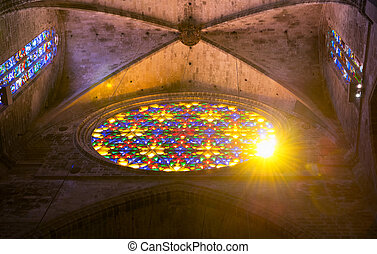 Sunshine through the stained-glass window of the Cathedral...