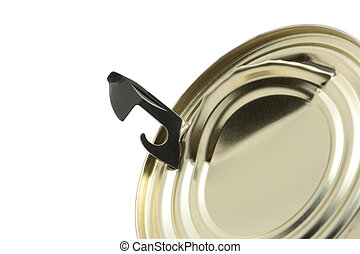 Escape from can - Close-up of can opener inside tin isolated...