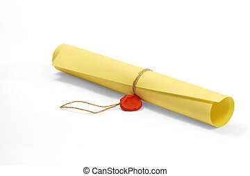 Classified letter - Roll of yellow paper cording with rope...