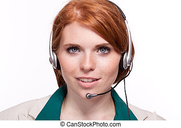 smiling business woman callcenter agent operator isolated...