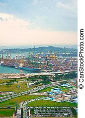 Singapore's port - Singapore commercial port . It's the...