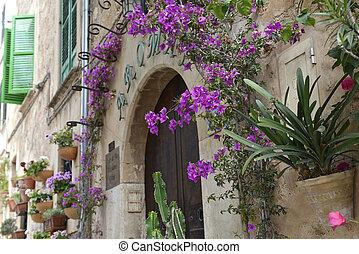 Typical Mediterranean Village with Flower Pots in Facades in...