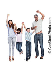 Cheerful family jumping against white background