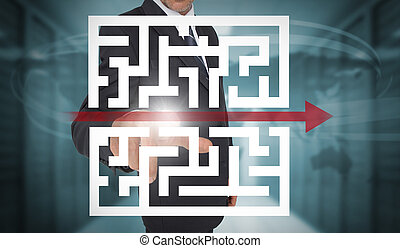 Businessman touching futuristic qr code with arrow interface...