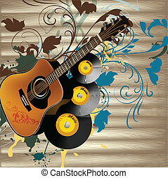 Grunge music vector background - Vector background with...