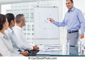 Businessman analyzing graph during presentation in bright...