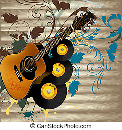 Grunge music vector background with guitar and notes on...