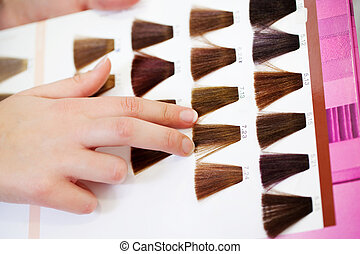 Clients Hand Choosing Color From Hair Samples - Closeup of...