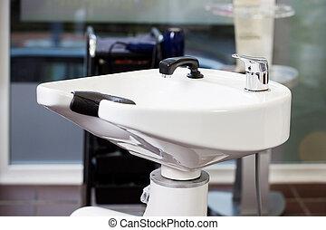 Washbasin In Salon - Closeup of washbasin in salon