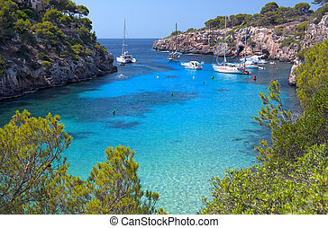 The Beautiful Beach of Cala Pi in Mallorca, Spain Balearic...