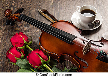 Violin, rose, coffee and music books - Violin, rose, cup of...