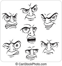 Negative emotions - vector set. - Emotions - Vinyl-ready...