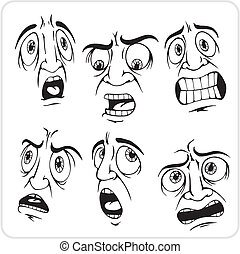 Frightened expression - vector set. - Emotions - Vinyl-ready...