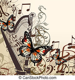 vector background with harp, notes and butterflies - Vector...