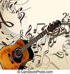 Music vector background with guitar and notes - Vector...