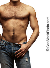 Young shirtless muscular man - Muscular male torso isolated...