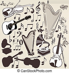 Vector set of detailed musical instruments for design -...
