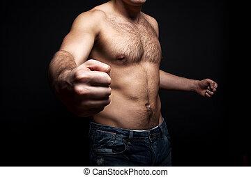 Shirtless, joven,  muscular, hombre