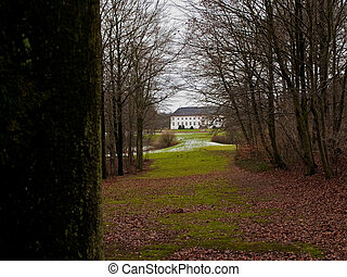 Beautiful Country farm mansion house Denmark winter time -...