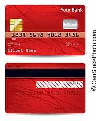 Grunge bank card - Grunge bank or credit card design in red...