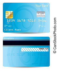 Cool blue credit card design with abstract circles