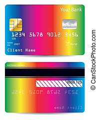 Rainbow bank card design - Rainbow background bank card...