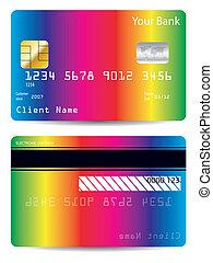 Rainbow bank card design - Rainbow background bank card...