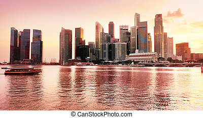 Sunset view of Singapore - Panramic view of Singapore...