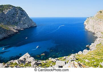 bonito, praia, baía, chamado, cala, Figuera, capa,...