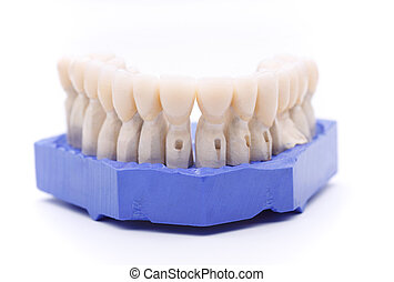 Prosthetic teeth on white background - Front view of...