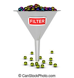 Web Content or SPAM Filter Concept - One funnel with...