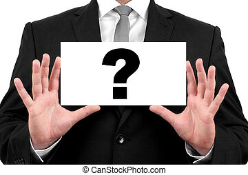 Questions Businessman - Questions Businessman in black suit...