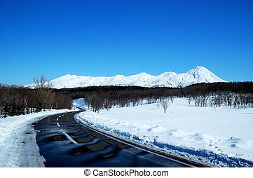 Shiretoko in winter,Hokkaido,Japan - Shiretoko Range covered...