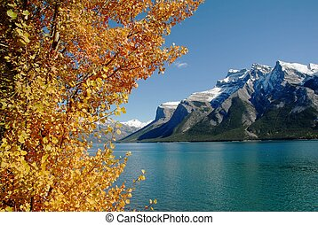 lago, Minnewanka, otoño, canadiense, Rockies,...