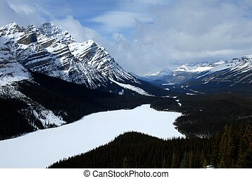 Peyto Lake in winter,Canadian Rockies,Canada - Frozen white...