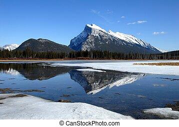 invierno, canadiense, monte, lagos, bermellón, Rockies,...
