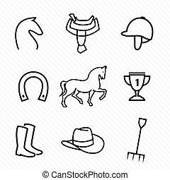 jogo, vetorial, cavalo, equipamento, ícones