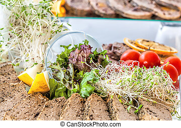 Vegatables with pate - Fresh raw vagetables with pate, close...