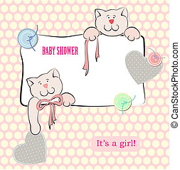 Baby Shower Invitation with Polka Dot Background Background...