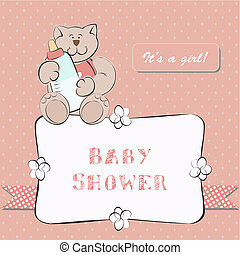 Baby Shower Invitation with Dot Background. Background for...