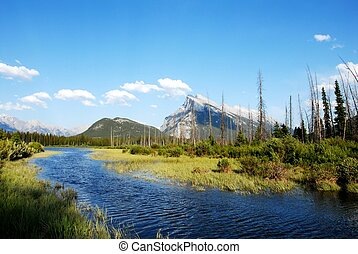 Vermillion Lakes and Mount Rundle in spring,Canadian...