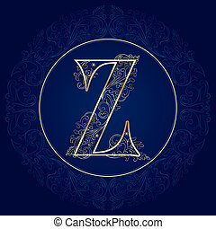 Vintage floral alphabet, letter Z. Vector illustration