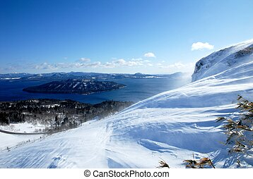Kussyaro Lake from Bihoro Pass in winter,Hokkaido,Japan -...