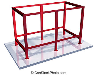 Impossible steel frame - Illustration of a steel structure...