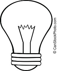 Outlined Cartoon Light Bulb