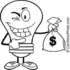 Outlined Light Bulb With Money