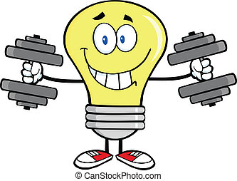 Light Bulb With Dumbbells - Smiling Light Bulb Cartoon...