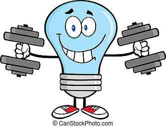 Blue Light Bulb With Dumbbells - Smiling Blue Light Bulb...