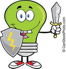 Green Light Bulb Guarder With Sword