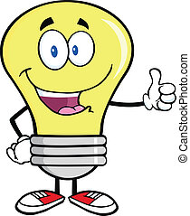 Light Bulb Giving A Thumb Up - Light Bulb Cartoon Mascot...